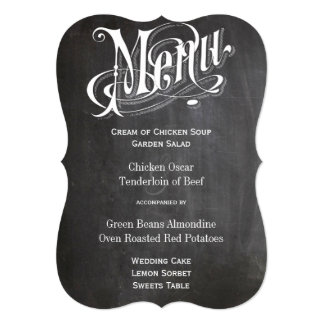 Die Cut Rustic Vintage Chalkboard Wedding Menu Card