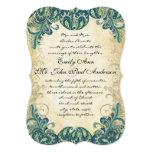Die Cut Teal Gold & Lime Peacock Wedding Custom Invitations