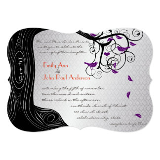 Die Cut Tree Silver Purple Bird Wedding Invitation