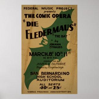 Die Fledermaus Strauss Vintage 1938 WPA Poster