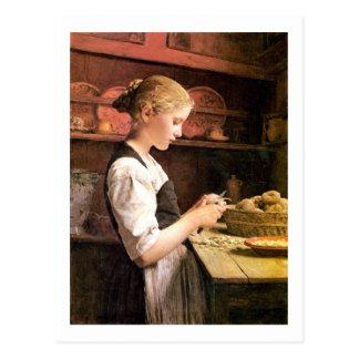 Die kleine Kartoffelschälerin Girl Peeling Potatos Postcard