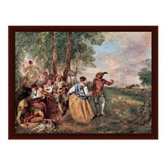 Die Schäfer (Fêtes Gallant) By Watteau Antoine Postcard
