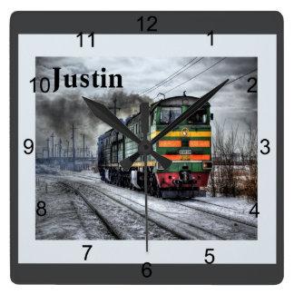 Diesel Locomotive Square Wall Clock