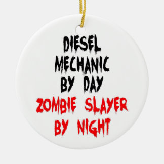 Diesel Mechanic Zombie Slayer Ceramic Ornament