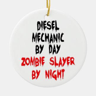 Diesel Mechanic Zombie Slayer Round Ceramic Ornament