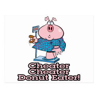 diet cheater donut eating piggy cartoon postcard