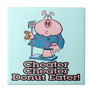 diet cheater donut eating piggy cartoon tile