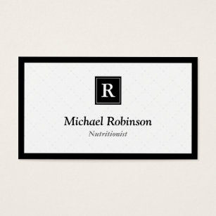 Diet coach business cards business card printing zazzle ca dietician nutritionist simple elegant monogram business card reheart Image collections