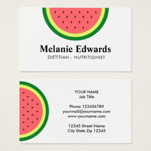 Food nutrition business cards business card printing zazzle ca dietician nutritionist watermelon business cards reheart Image collections