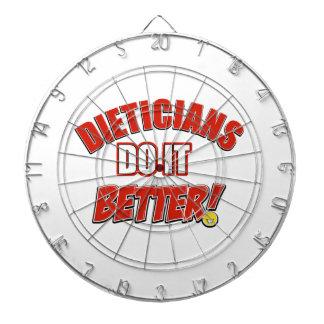 Dieticians job designs dartboard with darts