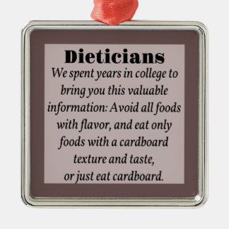 Dieticians Silver-Colored Square Ornament