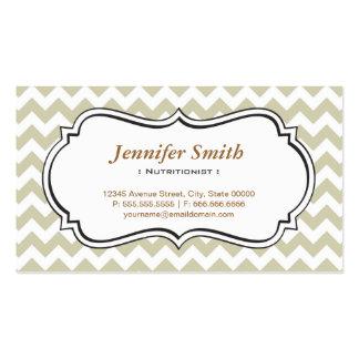 Dietitian Nutritionist - Chevron Simple Jasmine Business Card Template
