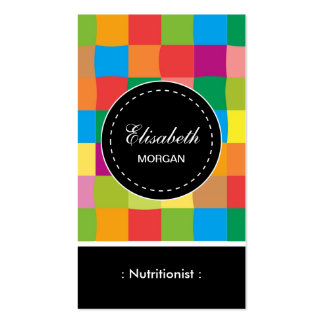 Dietitian Nutritionist- Colorful Sqaure Pattern Double-Sided Standard Business Cards (Pack Of 100)