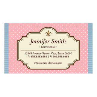 Dietitian Nutritionist - Cute Polka Dots Business Card Templates