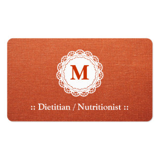 Dietitian / Nutritionist - Elegant Lace Monogram Double-Sided Standard Business Cards (Pack Of 100)