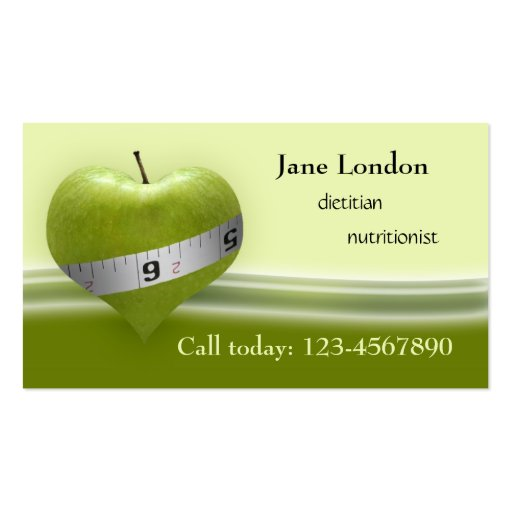 Dietitian & Nutritionist Green Heart Business Card
