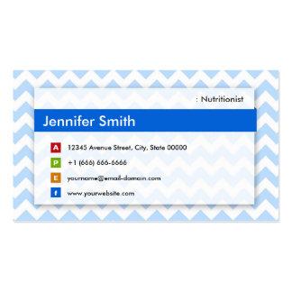 Dietitian Nutritionist - Modern Blue Chevron Pack Of Standard Business Cards
