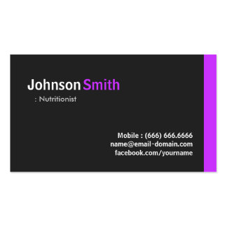 Dietitian Nutritionist - Modern Minimal Purple Double-Sided Standard Business Cards (Pack Of 100)