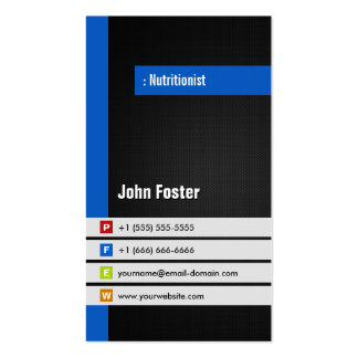 Dietitian Nutritionist - Modern Stylish Blue Pack Of Standard Business Cards