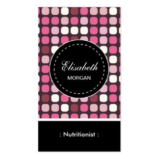 Dietitian Nutritionist- Pink Polka Pattern Double-Sided Standard Business Cards (Pack Of 100)