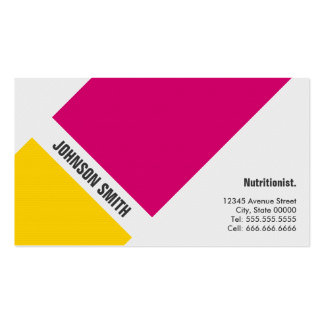 Dietitian Nutritionist - Simple Pink Yellow Pack Of Standard Business Cards