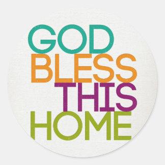 Dieu bénissent cette maison sticker rond