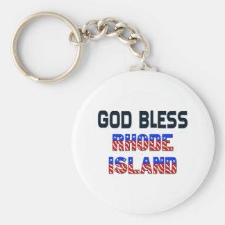 Dieu bénissent Île de Rhode Porte-clé Rond