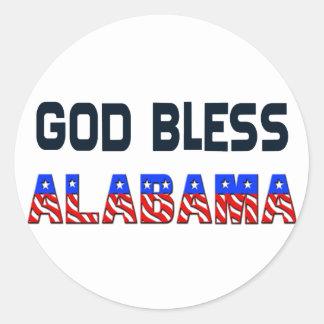 Dieu bénissent l'Alabama Sticker Rond