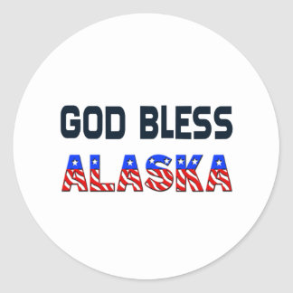 Dieu bénissent l'Alaska Sticker Rond
