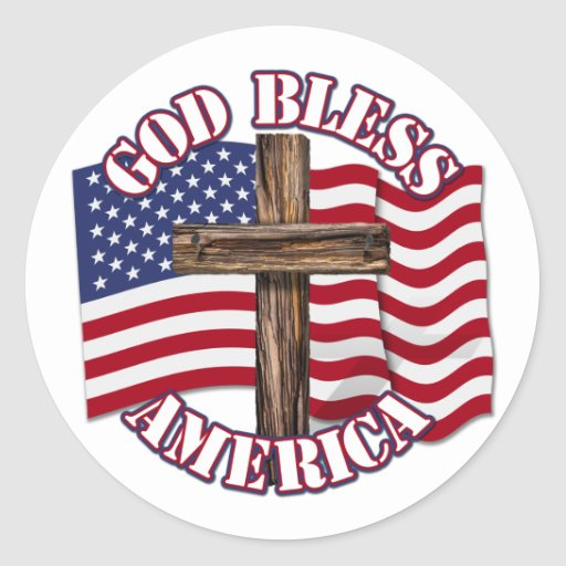 Dieu bénissent l'Américain avec le drapeau et la c Autocollants Ronds