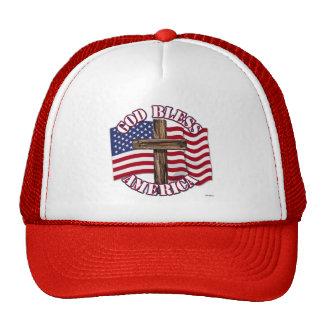 Dieu bénissent l'Américain avec le drapeau et la c Casquette