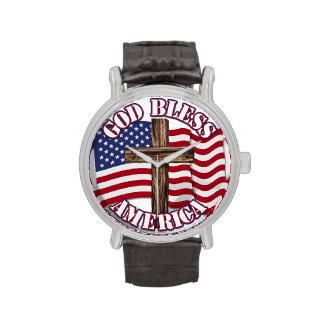 Dieu bénissent l'Américain avec le drapeau et la Montres Bracelet