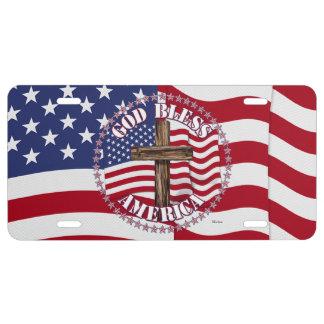 Dieu bénissent l'Américain avec le drapeau et la Plaque D'immatriculation