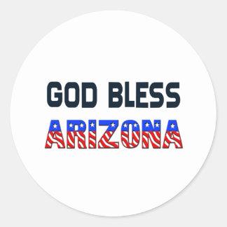 Dieu bénissent l'Arizona Sticker Rond