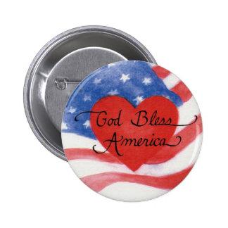 Dieu bénissent le bouton de drapeau de l'Amérique Macaron Rond 5 Cm