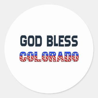 Dieu bénissent le Colorado Sticker Rond