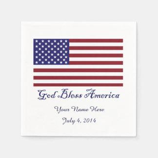 Dieu bénissent le drapeau de l'Amérique Serviette Jetable