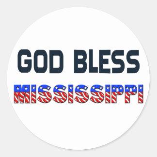 Dieu bénissent le Mississippi Sticker Rond