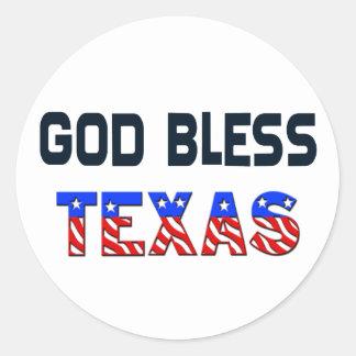 Dieu bénissent le Texas Sticker Rond