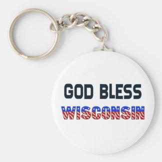 Dieu bénissent le Wisconsin Porte-clé Rond