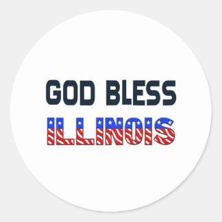Dieu bénissent l'Illinois Sticker Rond