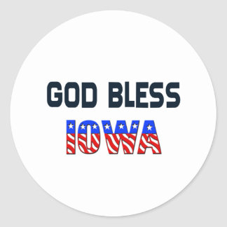 Dieu bénissent l'Iowa Sticker Rond