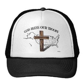 Dieu bénissent nos troupes avec la croix rocailleu casquette de camionneur