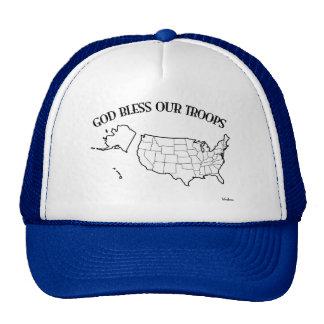 Dieu bénissent nos troupes avec le contour des USA Casquette De Camionneur