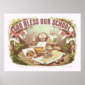 """""""Dieu bénissent notre école"""" Currier et affiche d'"""