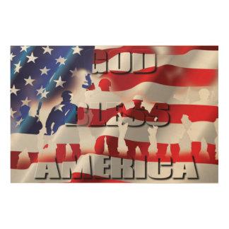 Dieu de Patriotic&Proud bénissent l'Amérique et Impression Sur Bois