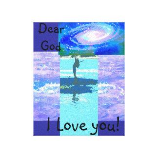 Dieu étiré d'impression de toile cher je t'aime ! toiles tendues