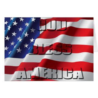 Dieu patriote bénissent l'Amérique sur le drapeau Carte De Vœux