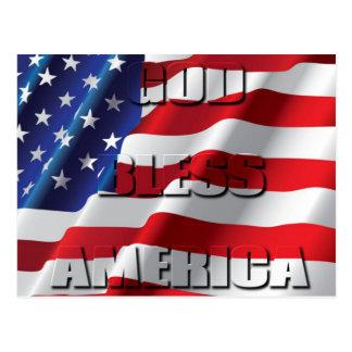 Dieu patriote bénissent l'Amérique sur le drapeau Carte Postale