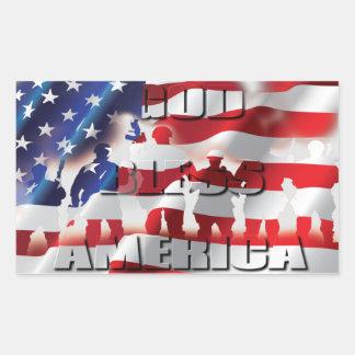 Dieu patriote bénissent le drapeau américain de sticker rectangulaire